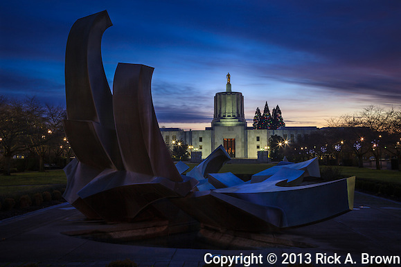 USA, Oregon, Salem, Oregon, Oregon Capitol at dusk on New Year's Eve. (Rick A. Brown)