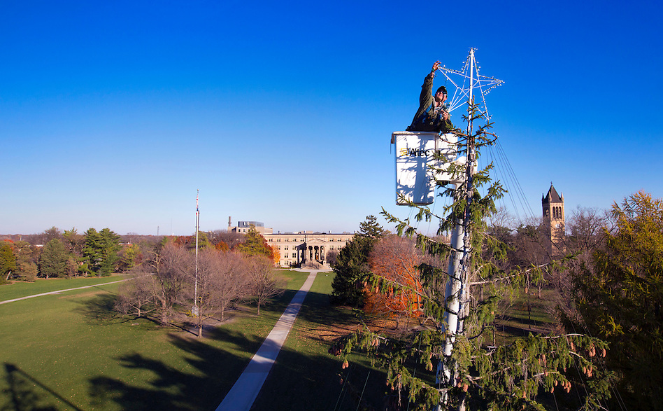 Kevin Doyle of Iowa State University campus services places a lighted star atop a 48-foot tall Norway spruce while decorating the tree high above central campus on November 9, 2015. Perfect weather made for ideal conditions to start the three day job of lighting ISU's traditional holiday tree. (Photo by Christopher Gannon/Iowa State University) (Christopher Gannon)