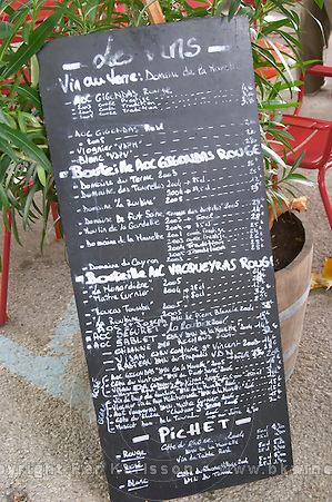 Wine list at a French village restaurant - read the fine print!
