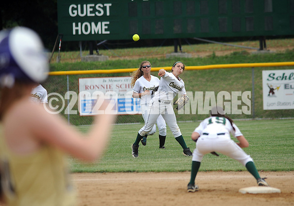 LYONS, PA - JUNE 09: Lansdale Catholic's shortstop Amanda Bradley tries to throw out a runner at first base during the PIAA Class AAA softball semifinal June 9, 2014 Lyons, Pennsylvania. (Photo by William Thomas Cain/Cain Images) (William Thomas Cain)