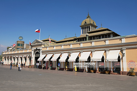 SANTIAGO, CHILE - OCTOBER 17, 2013: Unidentified people walk in front of the Central market of Santiago city in Santiago, Chile. (Dmitry Chulov)