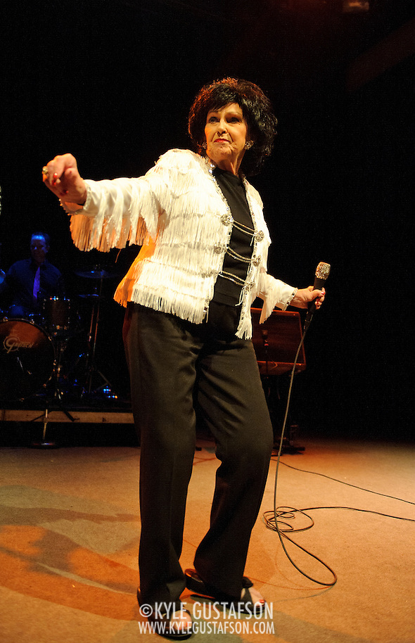 WASHINGTON, D.C. - February 26th, 2011: Wanda Jackson, the self-proclaimed First Lady of Rockabilly and America's first female Rock and Roll singer, performs at the 9:30 Club in Washington, D.C. Jackson, 73, is enjoying a career resurgence thanks to her latest album, The Party Ain't Over, which was produced by Jack White.  (Photo by Kyle Gustafson/For The Washington Post) (Photo by Kyle Gustafson / For The Washington Post)