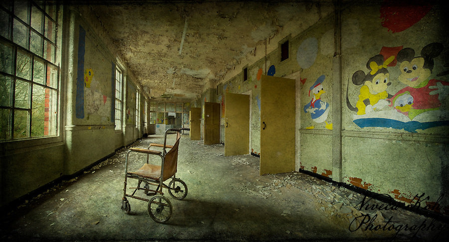 West Park Asylum children's ward with wheelchair (Viveca Koh)