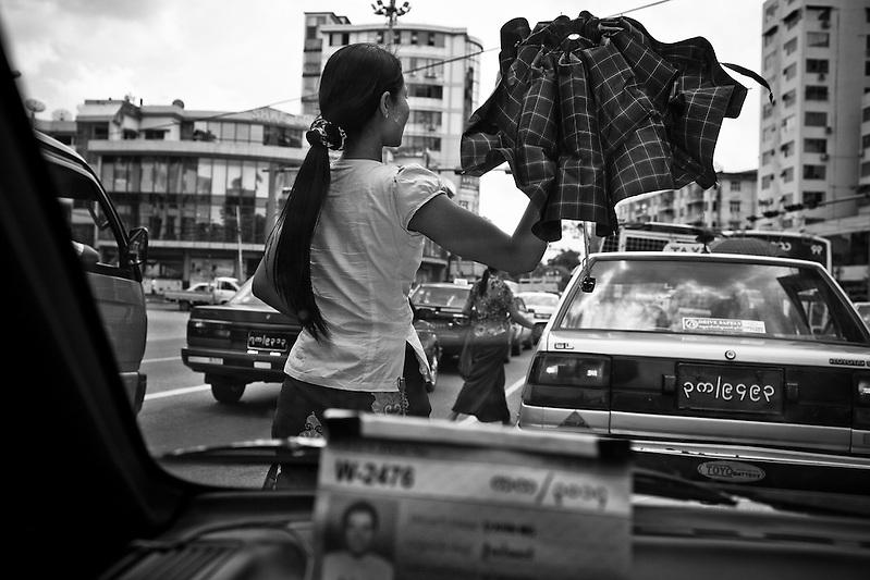 A street scene viewed through a taxi in Yangon, Myanmar. (Quinn Ryan Mattingly)