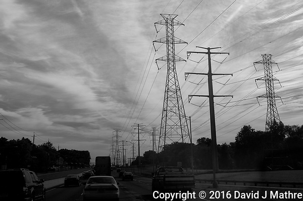 Clouds and Power Lines Along the Northeast Corridor. Image taken with a Leica X2 camera (ISO 100, 24 mm f/7, 1/1250 sec). In camera B&W. (David J Mathre)