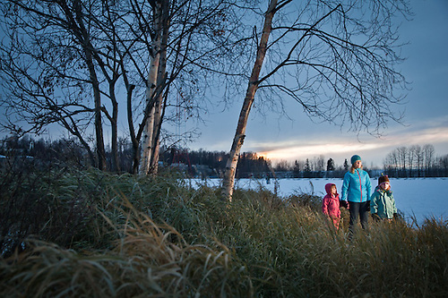 Amalie Couvillion and daughters Josephine and Lucy at Westchester Lagoon, Anchorage (Clark James Mishler)