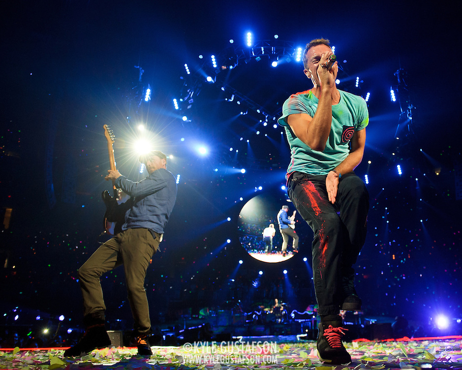 WASHINGTON, DC - July 9th, 2012 - Chris Martin and Jonny Buckland of Coldplay perform at the Verizon Center in Washington, D.C. The band's 2011 album, Mylo Xyloto, reached number one in thirty countries. (Photo by Kyle Gustafson/For The Washington Post) (Kyle Gustafson/For The Washington Post)