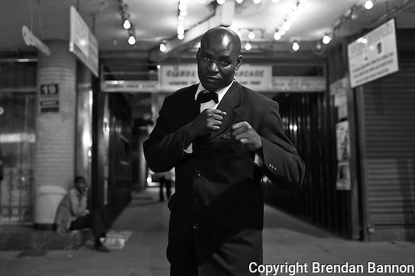 Phillip Otieno, Doorman at Dolce Vita in Nairobi. Otieno is also a professional boxer. (Brendan Bannon)