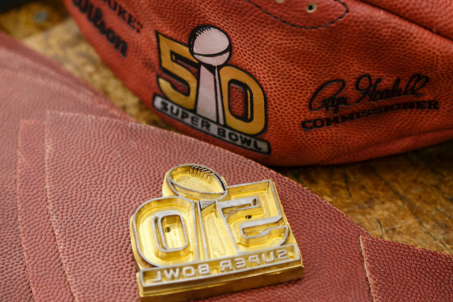 An embossing die is seen for the official ball for the NFL Super Bowl 50 football game at the Wilson Sporting Goods Co. in Ada, Ohio, Tuesday, Jan. 26, 2016. The Denver Broncos will play the Carolina Panthers in the Super Bowl on Feb. 7, in Santa Clara, CA. (AP Photo/Rick Osentoski) (Rick Osentoski/AP)