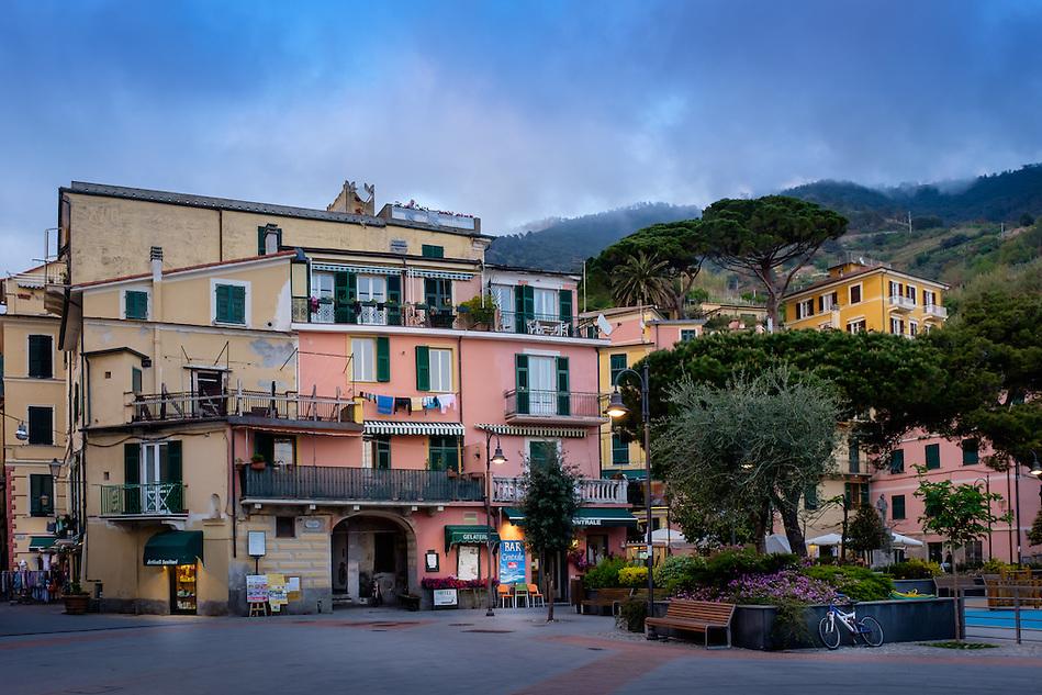 MONTEROSSO AL MARE, ITALY - CIRCA MAY 2015: View of main piazza in Monterroso Al Mare in Cinque Terre, Italy. (Daniel Korzeniewski)