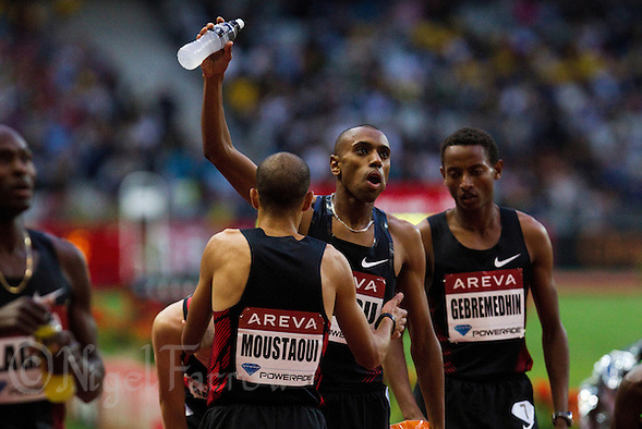 08 JUL 2011 - PARIS, FRA - Amine Laalou celebrates winning the men's 1500m at the Meeting Areva round of the Samsung Diamond League (PHOTO (C) NIGEL FARROW) (NIGEL FARROW/(C) 2011 NIGEL FARROW)