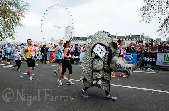 17 APR 2011 - LONDON, GBR - One of the infamous rhinos that runs the London Marathon for an animal protection charity .(PHOTO (C) NIGEL FARROW) (NIGEL FARROW/(C) 2011 NIGEL FARROW)