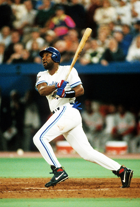 TORONTO, ONTARIO, CANADA - OCTOBER 23:  Joe Carter of the Toronto Blue Jays connect for a World Series winning walk off home run off of Mitch Williams during Game Six of the 1993 World Series at the Skydome on October 23,1993 in Toronto, Ontario, Canada. The Blue Jays won the game 8-6, winning the Series 4-2.  (Photo by Ron Vesely) (Ron Vesely)