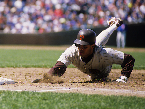 CHICAGO - 1990:  Roberto Alomar of the San Diego Padres dives back to first base against the Chicago Cubs during an MLB game at Wrigley Field in Chicago, Illinois.  Alomar played for the Padres from 1988-1990.  (Photo by Ron Vesely) (Ron Vesely)