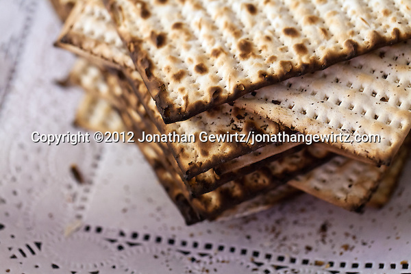 A stack of matzos or matzahs used in a Passover seder. (© 2012 Jonathan Gewirtz / jonathan@gewirtz.net)