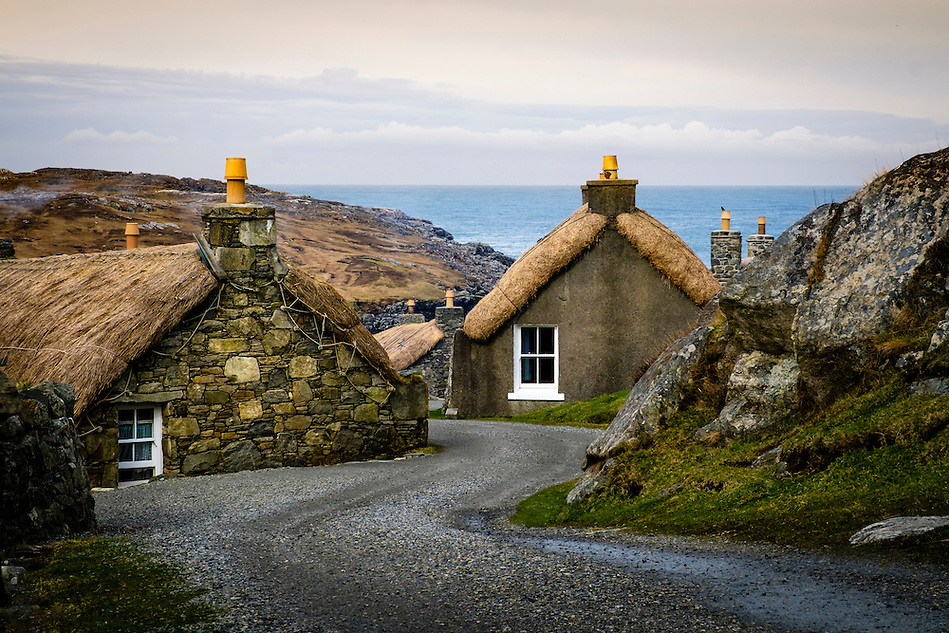 LEWIS AND HARRIS, SCOTLAND - CIRCA APRIL 2016: Blackhouses in the Island of Lewis, Scotland.. (Daniel Korzeniewski)