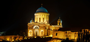 Exterior of the Neo Classical Esztergom Basilica at night , Cathedral ( Esztergomi Bazilika ), Hungary. (Paul Williams)