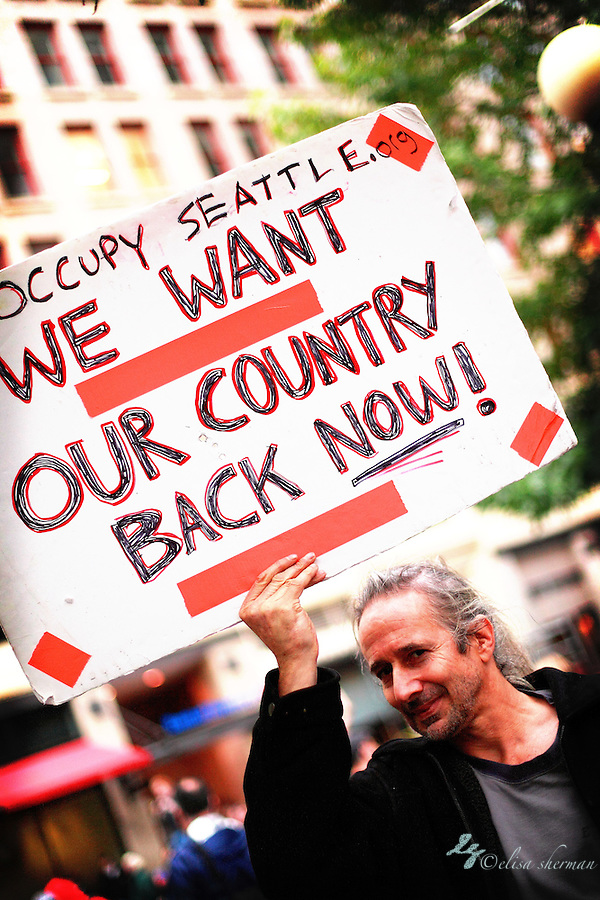 Occupy Seattle at Westlake Seattle 10-6-2011 ((c)2011 Elisa Sherman)