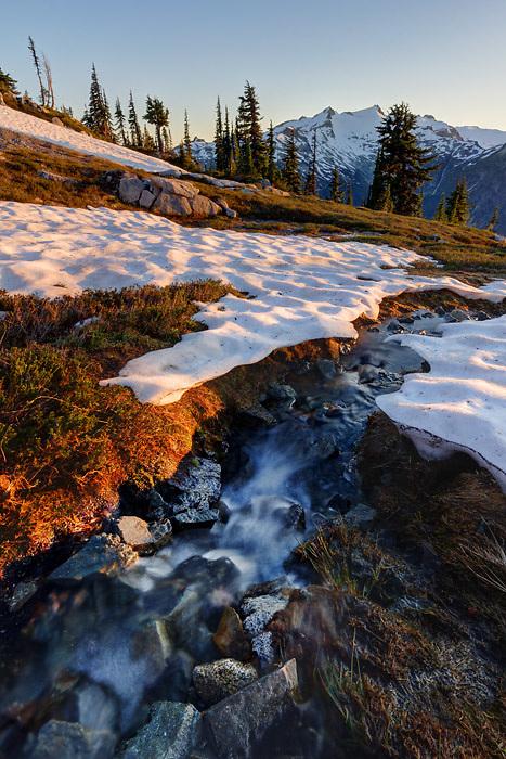 Small stream running through snowfields in subalpine meadow, Mount Daniel in background, Wenatchee Mountains, central Washington Cascade Mountains (Brad Mitchell)