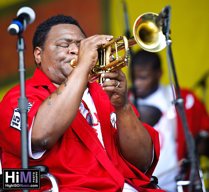Hot 8 Brass Band playing at Jazz Fest in New Orleans, LA on day 2. (Golden G. Richard III)