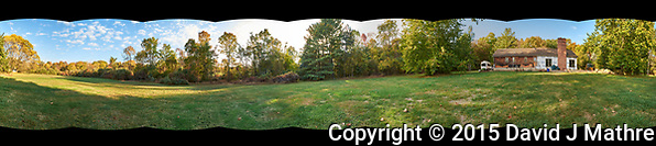 Autumn 360 Degree Backyard Panorama. Composite of 10 images taken with a Fuji X-T1 camera and 14 mm f/2.8 lens (ISO 1250, 14 mm, f/11, 1/125 sec). Raw images processed with Capture One Pro and AutoPano Giga Pro. (David J Mathre)