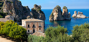 The Tonnara di Scopello [ old Tuna processing factory ] home of writer Gavin Maxwell in the 1950's. Scopello, Castellammare Del Golfo , Sicily. (Paul Williams)