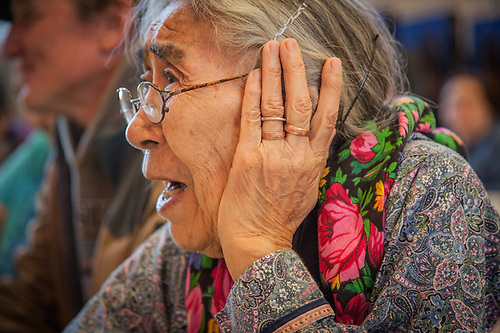 Writer, Nick Jans, with Minnie Gray of Ambler at the Elders Conference, Kotzebue, The Purchase Centennial Poject (Clark James Mishler)