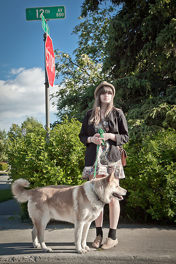 Becky Farleigh and her dog, Latte, Anchorage (Clark James Mishler)
