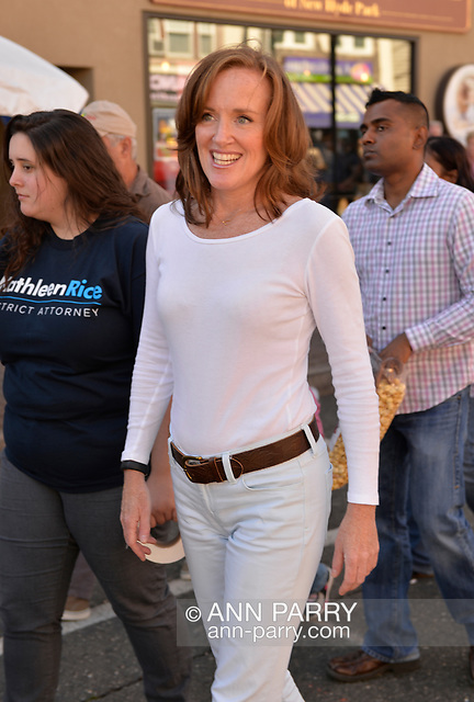 """""""Bellmore, New York, U.S. 22nd September 2013. Nassau County District Attorney KATHLEEN RICE (Democrat), running for re-election in November to a third term in office, makes a campaign stop to the 27th Annual Bellmore Family Street Festival. (© 2013 Ann Parry/AnnParry.com)"""