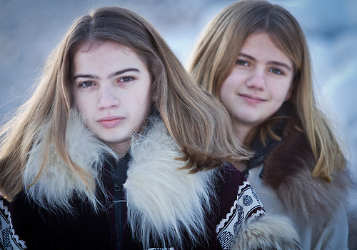 Sisters, Amanda and Jenna Seaman, from Indiana, in Anchorage visiting family. (Clark James Mishler)