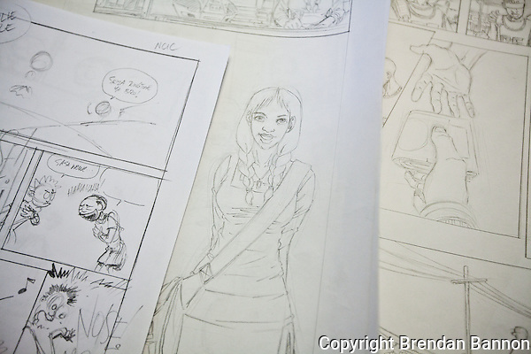 Line drawings for future issues of Shujaaz FM, a comic book printed monthly in an edition of 600,000. Studies show that an average of ten people  read each printed issue,meaning the comic reaches aproximately 6 million. (Brendan Bannon)