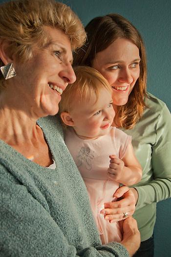 Mitzi, daughter, Jennifer, and granddaughter, Mya, on Mothersday, Pittsburg, CA (Clark James Mishler)