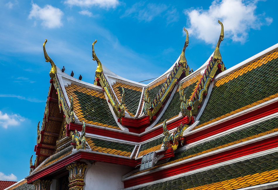 BANGKOK, THAILAND - CIRCA SEPTEMBER 2014: Detail view of the roofs in Wat Arun, a popular Buddhist temple in Bangkok Yai district of Bangkok, Thailand, on the Thonburi west bank of the Chao Phraya River (Daniel Korzeniewski)