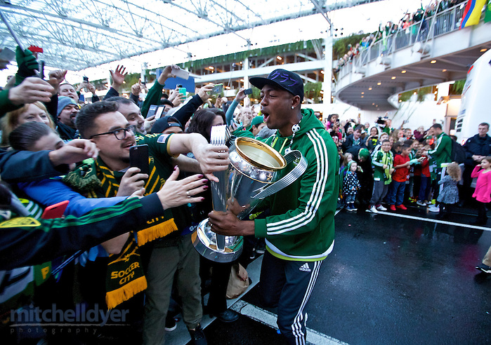 Dec 7, 2015; Portland, OR USA; The Timbers travel home to Portland and are greeted by fans at PDX. Photo: Craig Mitchelldyer-Portland Timbers (Craig Mitchelldyer)