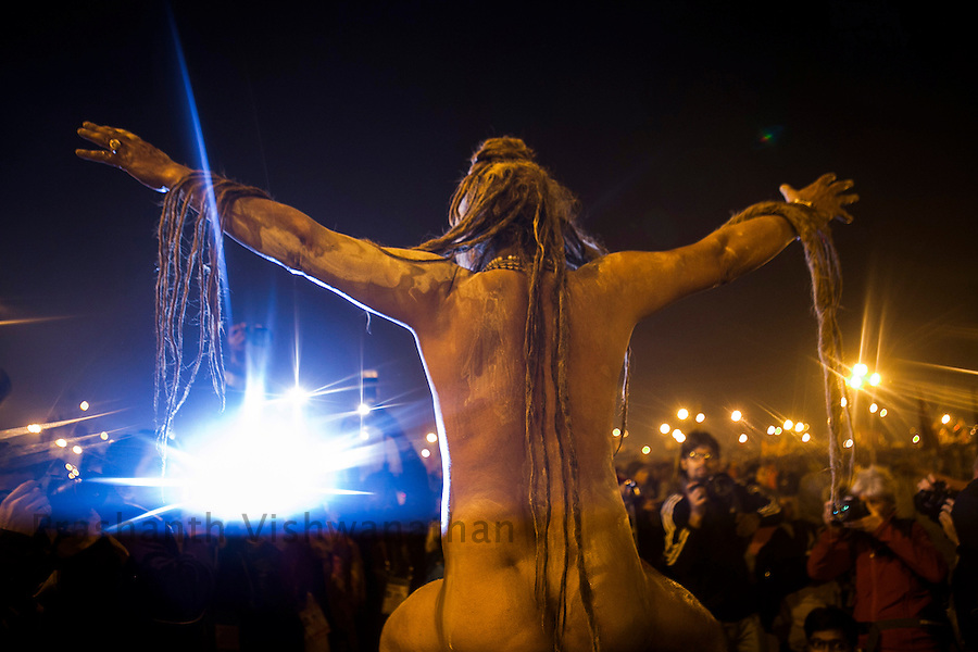 A Naga Sahu poses for a photograph after taking a dip in the river ganges, during the Kumbh Mela in Allahabad on February 10, 2013.Prashanth Vishwanathan/HELSINGIN SANOMAT (Prashanth Vishwanathan)