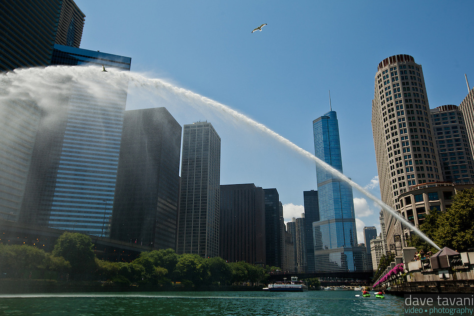 A sprinkler shoots water over the Chicago River while gulls fly overhead. This view of Chicago is from a kayak at river level. (Dave Tavani)