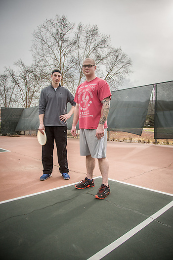 """I want to own my own restraunt someday...yes, we have talked about working together toward that goal""  -Second year Institute of America culinary student Sam Hamlin with fellow student Jason Smith who had been plaing Frizbee at the Calistoga tennis courts. (Clark James Mishler)"