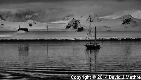 Sailboat Anchored Near the Argentine Research Station at Half Moon Island in the South Shetland Islands off Antarctica. Image taken with a Leica T camera and 18-56 mm lens (ISO 100, 56 mm, f/10, 1/640 sec). Raw image processed with Capture One Pro 8, Nik Silver Efex Pro 2, and Photoshop CC 2014 (David J Mathre)