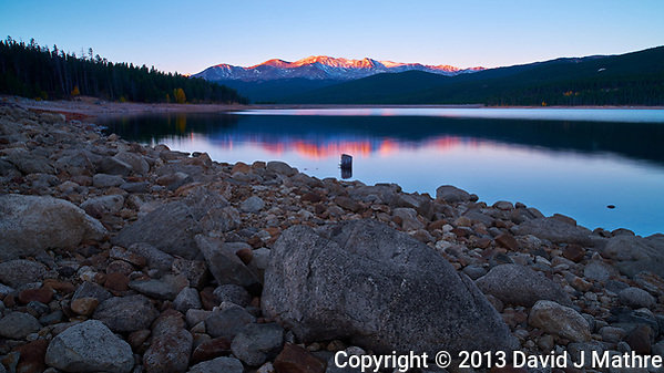 Turquoise Lake Early Morning Panorama, Leadville Colorado. Image taken with a Nikon D3x camera and 24 mm f/3.5 PC-E lens and Singray neutral density filter (ISO 100, 24 mm, f/16, 10 sec). Colorado Rocky Mountain Photo Safari with +Jason Odell (David J Mathre)
