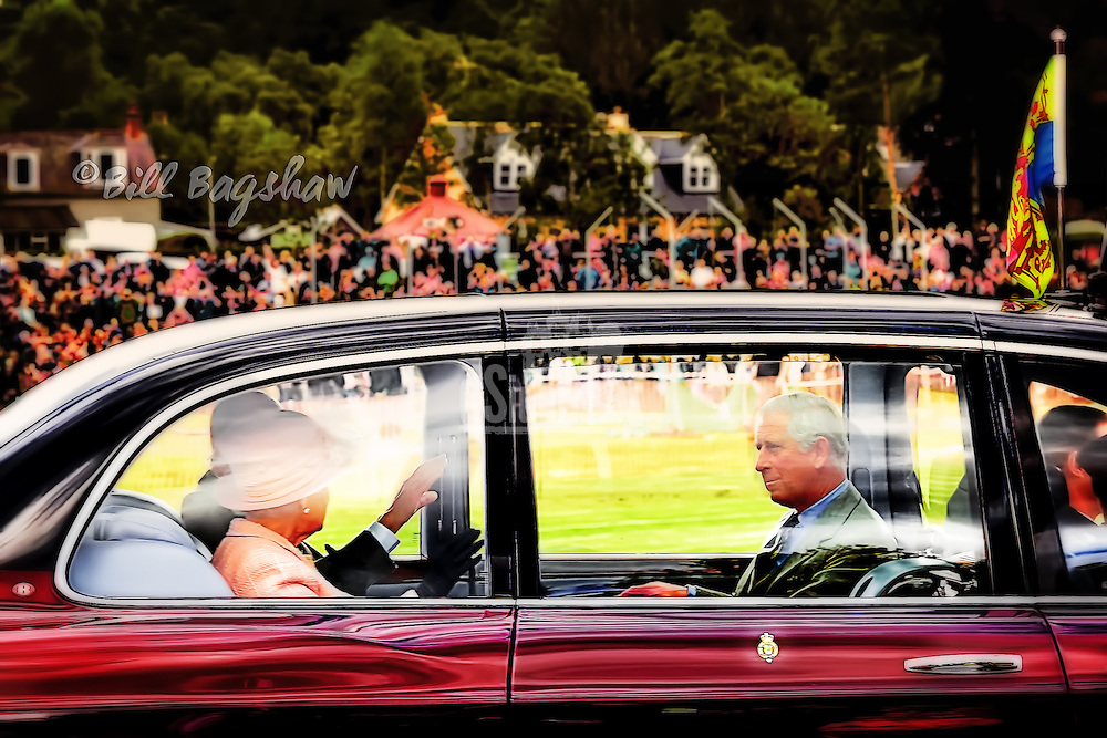 The Queen arrives at Braemar Gathering & Highland Games Royal Deeside, Scotland, accompanied by Prince Charles & The Duke of Edinburgh (Bill Bagshaw www.dsider.co.uk)