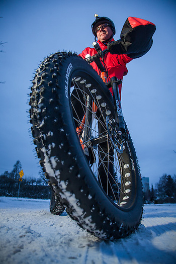 Emergeny spill response specialist, Pete Pritchard, with his brand new fat tire bicycle, Anchorage. (Clark James Mishler)