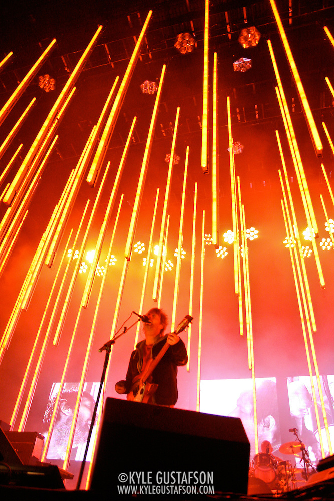Thom Yorke and Radiohead perform in the torrential downpour at Nissan Pavillion in Bristow, VA. Photos by Kyle Gustafson. (unknown)