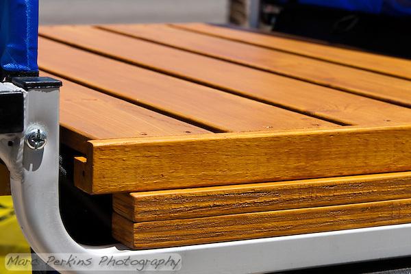 The IKEA Gorm shelf and wooden risers after attachment to the Schwinn bike trailer's frame. (Marc Perkins)
