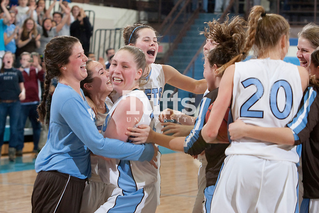 03/03/2012 - Medford, Mass. - The Jumbos celebrate Tufts' 55-46 win over Johns Hopkins in the second round of the NCAA Division III Women's Basketball Championship at Tufts University's Cousens Gymnasium on March 3, 2012. (Kelvin Ma/Tufts University)