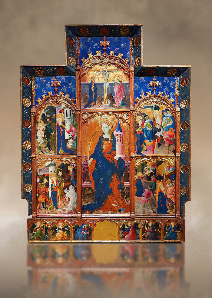 Gothic painted Panel Altarpiece of Saint Barbara by Goncal Peris Sarria. Tempera and gold leaf on wood. Date Circa 1410-1425. Dimesions 278 x 207.7 x 17 cm. At the beginning of the 20th century, the altarpiece was kept in the parish church of Puertomingalvo (Teruel), but it could originally have come from the chapel of Santa Bárbara near this town. This altarpiece is attributed to the painter Gonçal Peris Sarrià, one of the chief representatives of Valencian International Gothic. His style is marked by expressive and picturesque elements, the flowing line and the charm of the colour. The main compartment of the altarpiece represents the titular saint with her distinctive attributes –the tower, in allusion to her imprisonment, and the palm, as she is considered a martyr-- and above her the Calvary. On either side are depicted various episodes from the life of Saint Barbara, who was called on to keep away lightning and storms. . National Museum of Catalan Art, Barcelona, Spain, inv no: 035672-CJT (Paul E Williams)