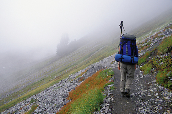 Backpacker on Chain Lakes Trail, North Cascades, Washington State