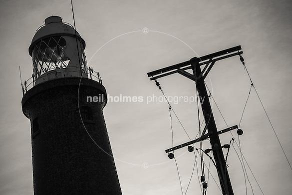 Spurn Head, Spurn, East Yorkshire, United Kingdom, 06 December, 2014. Pictured: Spurn Lighthouse (Neil Holmes)