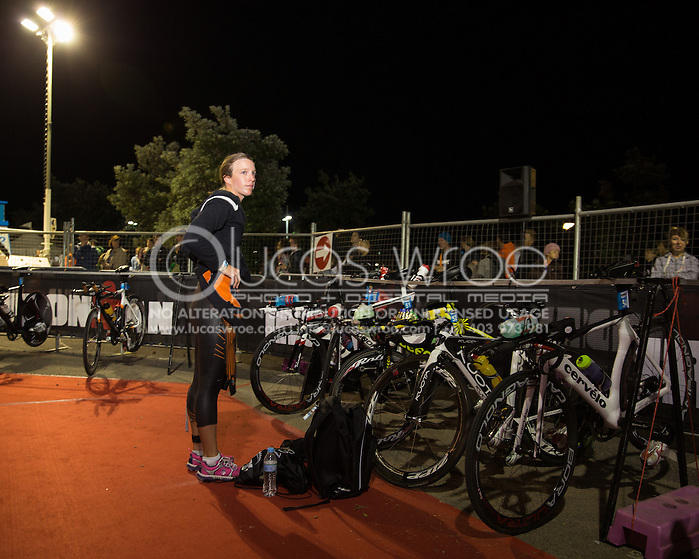 Gina CRAWFORD (NZL) Prepares Transition In The Pre Dawn. Ironman Asia Pacific Championship Melbourne. Triathlon. Frankston And St Kilda, Melbourne, Victoria, Australia. 24/03/2013. Photo By Lucas Wroe (Lucas Wroe)