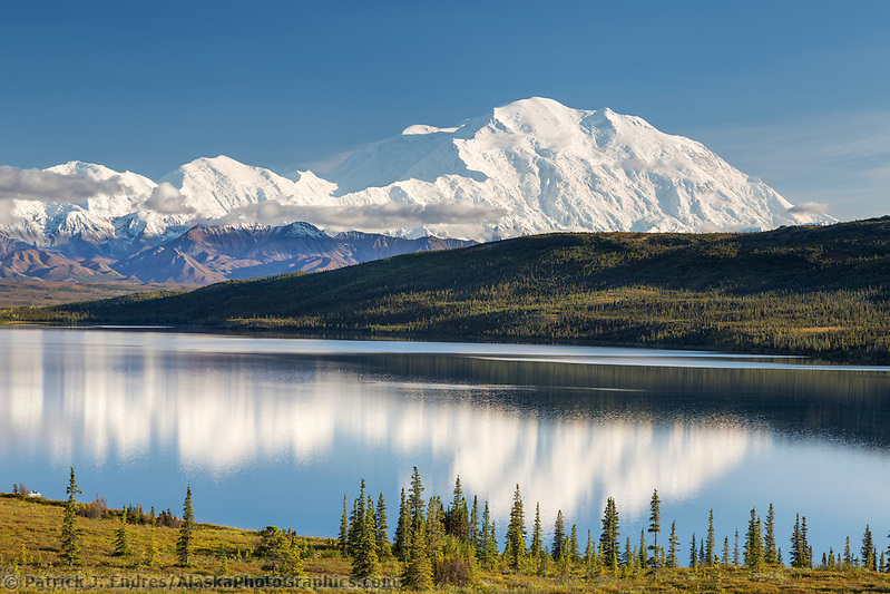 Denali photos: The Summit Of Mt. Denali Reflects In Wonder Lake, Denali National Park, Alaska. (Patrick J. Endres / AlaskaPhotoGraphics.com)