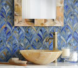 Margot, a jewel glass waterjet mosaic, is shown in Blue Onyx. (New Ravenna ®)